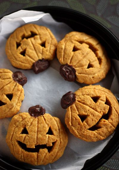 PUMPKIN JACK - Ingredients1 cup Pumpkin, canned1 Egg1 tsp Baking powder1 tsp Baking soda1 Chocolate, semisweet1 tsp Cinnamon2 1/2 cups Flour1/2 tsp Nutmeg1/2 tsp Salt1 1/2 cups Sugar1 tsp Vanilla extract1 stick Butter, softSee it here