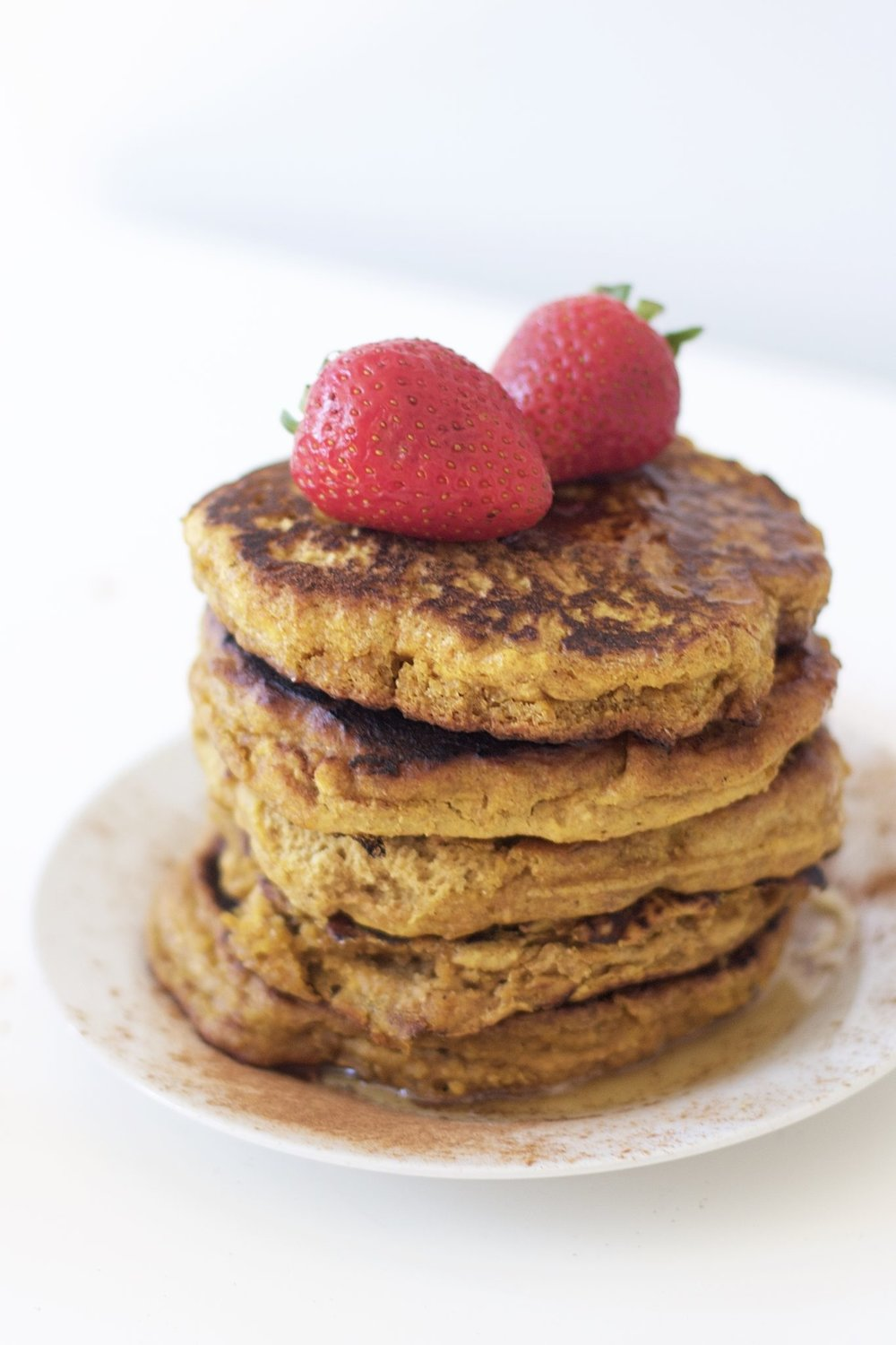 HEALTHY PUMPKIN PANCAKES - Ingredients3/4 cup Pumpkin puree, canned1 cup Almond milk, unsweetened2 Eggs3 tbsp Maple syrup, pure2 1/2 cups Almond flour1 tsp Baking powder1 tsp Baking soda1/2 tsp Cinnamon, organic1/4 tsp Nutmeg, organic1/2 tsp Salt1 1/2 tsp Vanilla extract1 1/2 tsp Apple cider vinegar2 tbsp ButterSee it here!