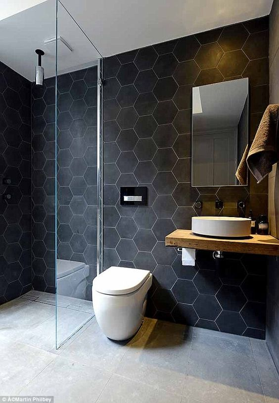 5 ways to use black in the bathroom! We've got a few techniques for you to incorporate black into your bathroom without it feeling too gothic. Click to see more! | VIGO Industries - Bathroom Design Ideas - Bathroom Remodel