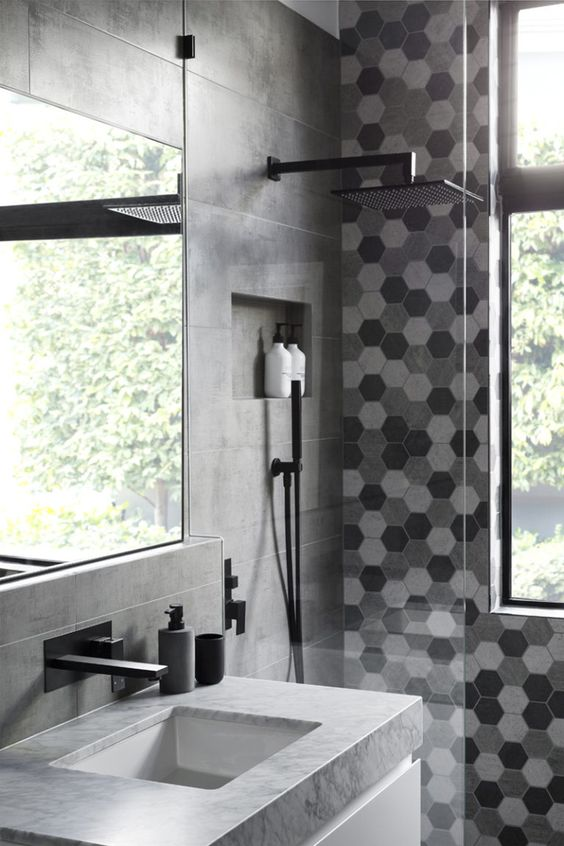5 ways to use black in the bathroom! We've got a few techniques for you to incorporate black into your bathroom without it feeling too gothic. Click to see more! | VIGO Industries - Bathroom Design Ideas - Bathroom Remodel. Pictures sourced from Pinterest