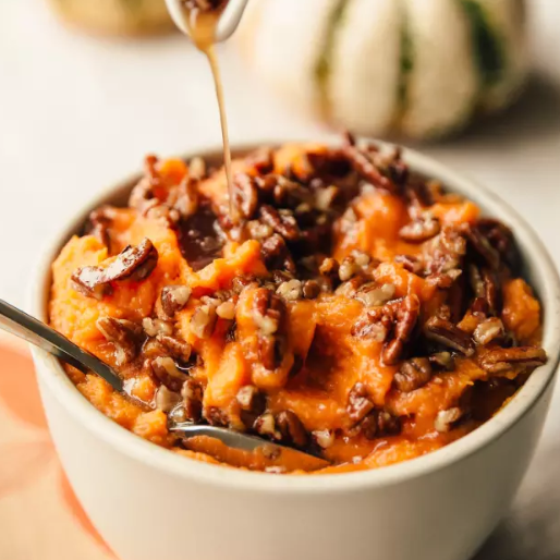 WHIPPED SWEET POTATOES WITH MAPLE PECAN DRIZZLE - Ingredients6 tablespoonsbutter, divided2 1/2 pounds3-4 large sweet potatoes1 cupMilk (not nonfat), divided1/2 teaspoon salt1/4 cup maple syrup1/2 cup chopped pecansSee it here!
