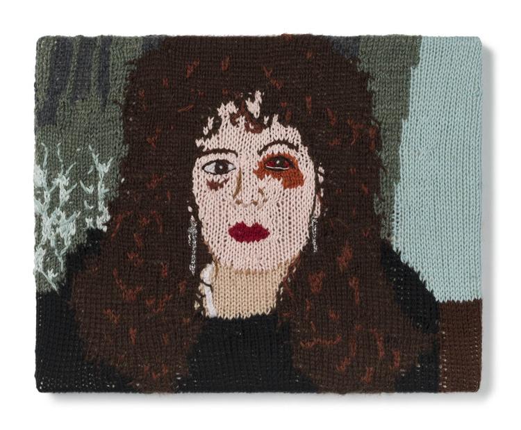 Kate Just, Feminist Fan #20 (Nan Goldin, Nan, one month after being battered, 1984), 2016