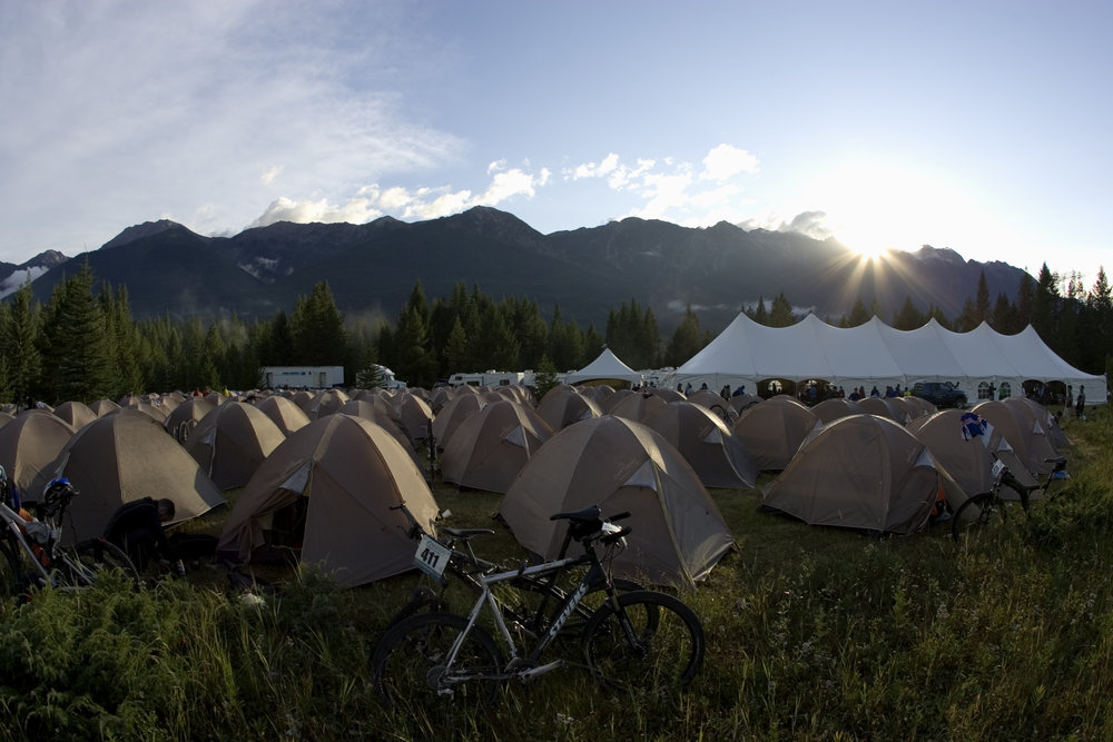 Tansrockies mountain bike race camping at Nipika Mountain Resort, BC, Canada