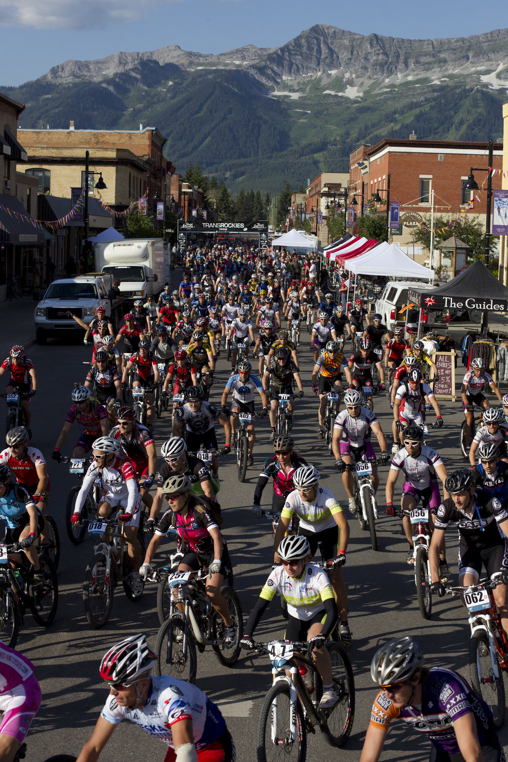 The TransRockies mountain bike stage race start line in Fernie, BC.