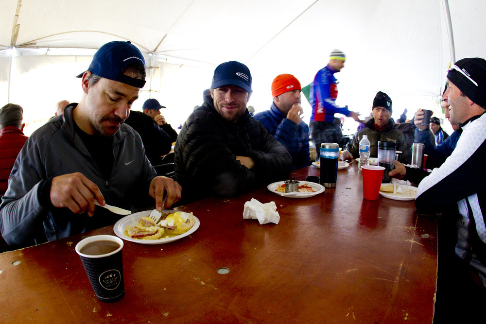 The TransRockies mountain bike stage race – breakfast in the food tent.