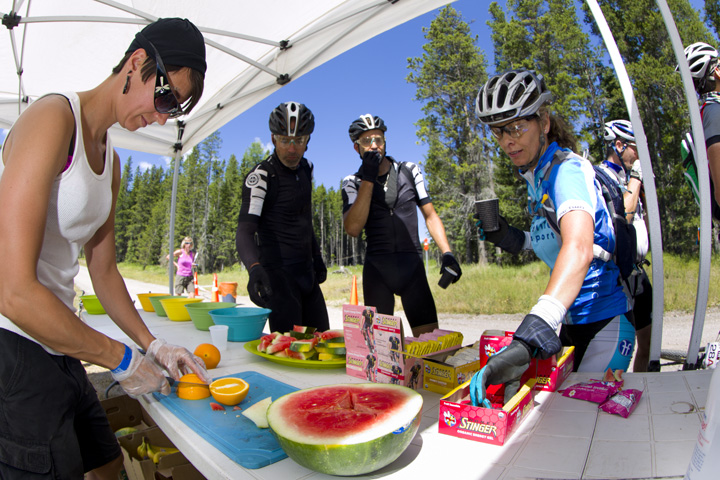 Volunteering at the feed station at the TransRockies Classic mountain bike stage race.