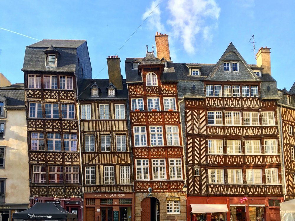 Half timbered houses leaning on each other in Rennes