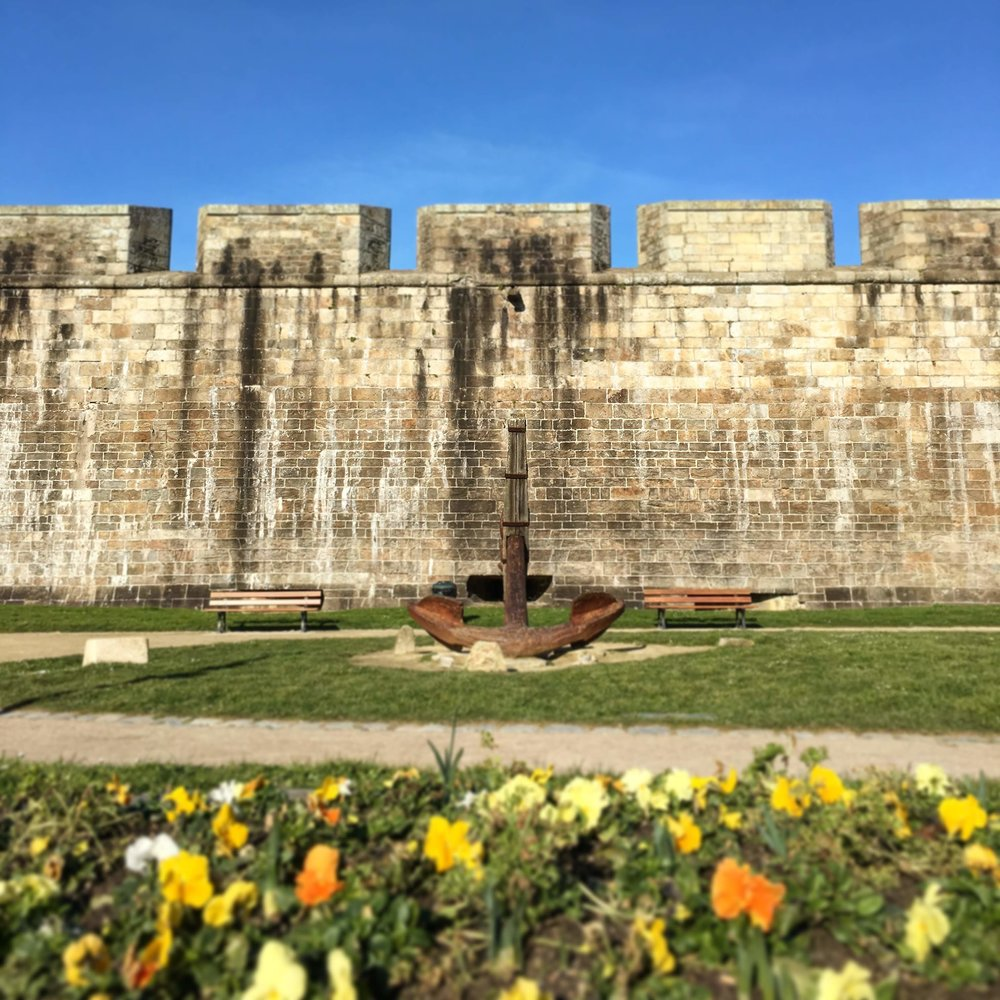 City walls of Saint-Malo Intra Muros - the ocean is just over the wall. And yes, those are FLOWERS and BLUE SKIES in FEBRUARY!