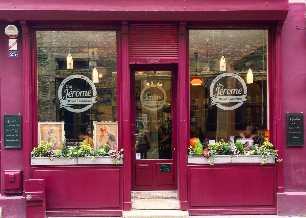 The exterior alone is enough to draw you into  Chez Jérôme . His restaurant also doubles as a  brocante.  Like the book that was on the table in the bathroom? Jêrome will happily sell it to you for a reasonable price!