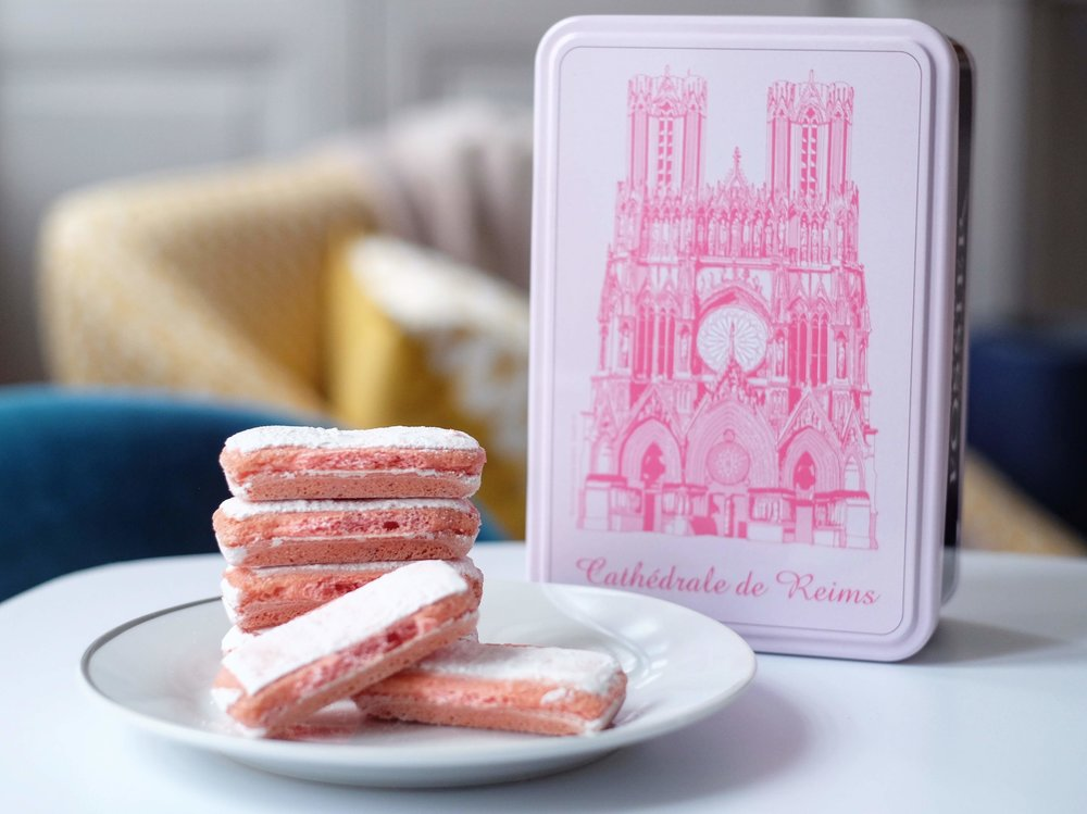 These cookies may be dry and crunchy, but not after you dip them into a glass of champagne which many people like to do! I love my souvenir tin that features the cathedral.