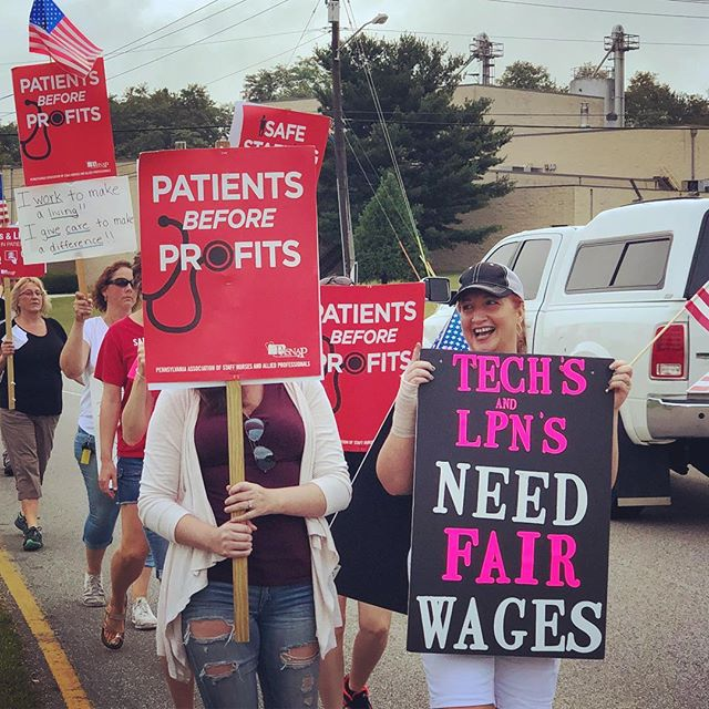 "Management at ACMH said the hospital's Techs and LPNs are ""not professionals."" We know better — so we're on strike for fairness and respect. Let's show solidarity and support! 👊"