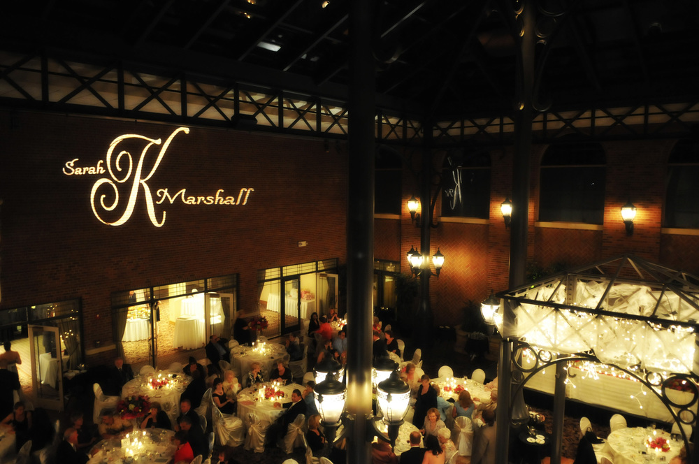 GOBO Monogram - $200 - Project a custom image onto almost any surface. Wall, ceiling, or dance floor. Adding a touch of class to any event.