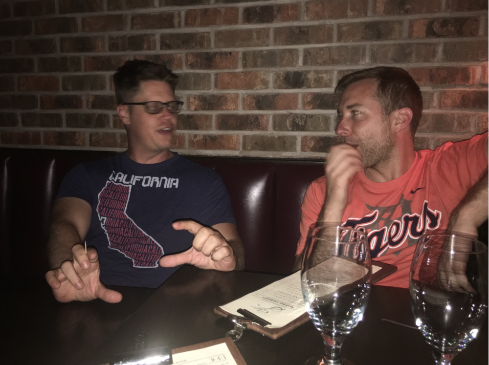 Above: Myself (left) and Cullen, our other co-founder, in early conversations on what would ultimately become DoneGood. Back then, critical 'business meetings' took place over happy hours.
