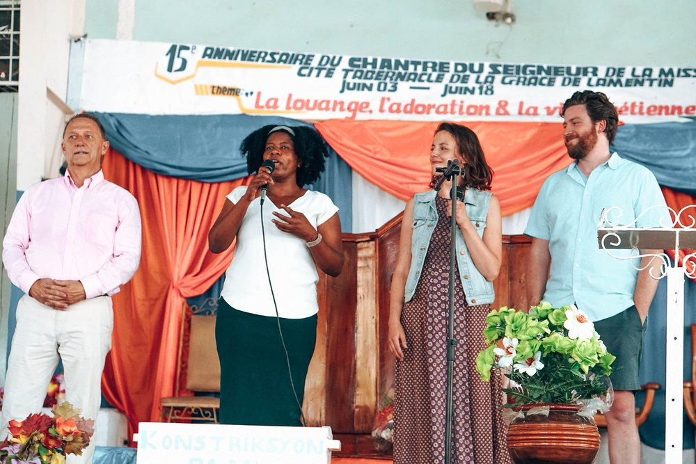 William, Carmel, Courtney and Bill take the stage at Grace International Orphanage. (Photo credit: Jennifer Morilla)
