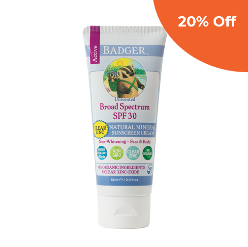 Clear Zinc Sunscreen SPF 30     Badger Balm $16.99   Save 20% off your first order  with promo code:  DONEGOOD