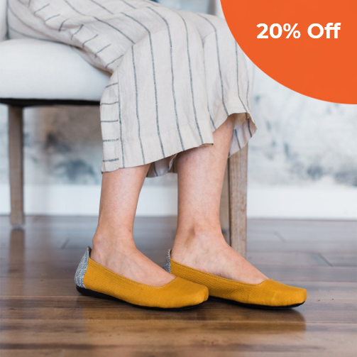 Gaby Flat in Mustard   The Root Collective $98.00   Save 20% off your first order  with promo code: DONEGOOD