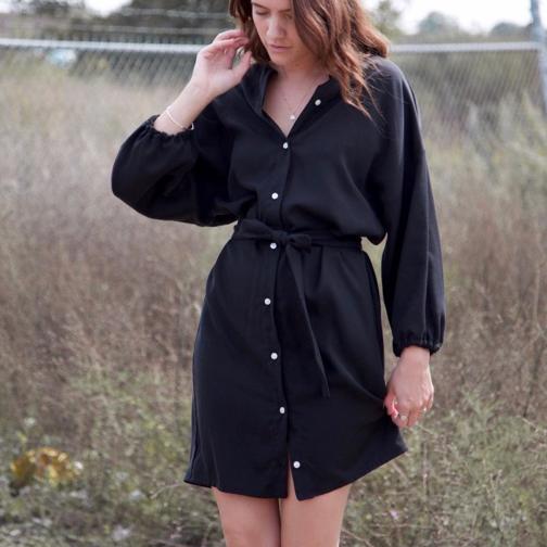 Short Button-Up Balloon Sleeve Dress   Hackwith Design House $170.00