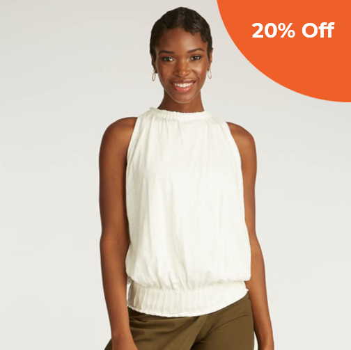 Sleeveless Pleated Top   INDIGENOUS $110.00   Save 20% off your order  with promo code: DoneGood