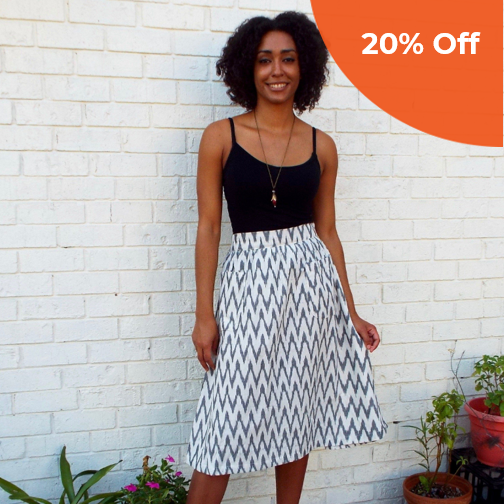 The Classic Midi Skirt   Passion Lilie $59.00   Save 20% off your first order  with promo code: DoneGoodVIP