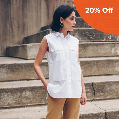 Jane Sleeveless Utility Shirt   Pause $178.00   Save 20% off your order  with promo code: PAUSE.DONEGOOD