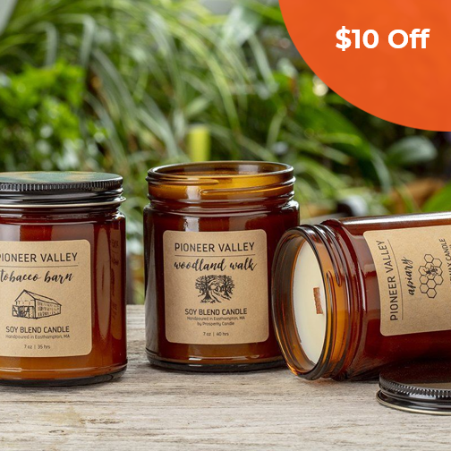 Pioneer Valley Candle   Prosperity Candle $25.00   Save $10 off orders over $50  (one-time use) with promo code: DoneGood10