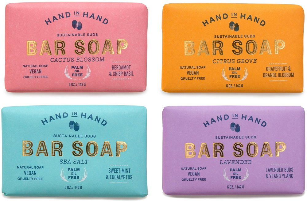 Buy a bar, give a bar with  Hand in Hand Soap 's vegan, cruelty-free, all natural soaps.  Save 20% off your first order with promo code:   DONEGOOD