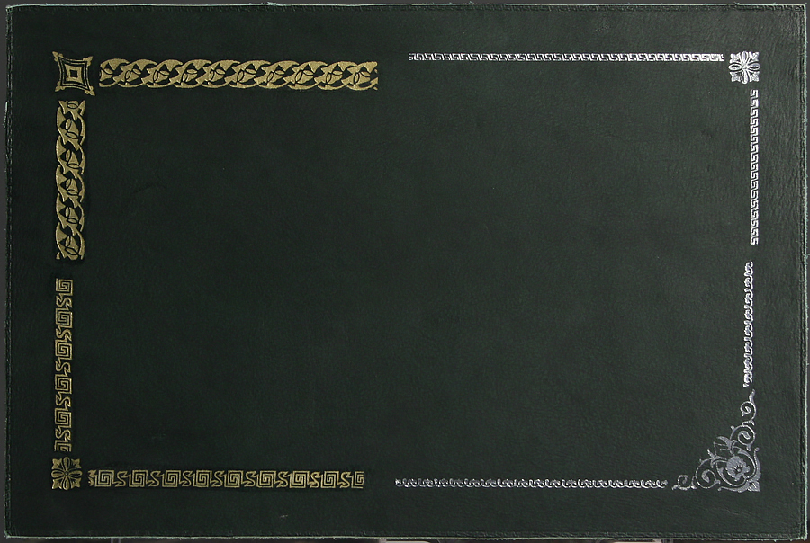 Leather tooling sample with thin blind tooling border visible at the very edge. Please click the image to enlarge.