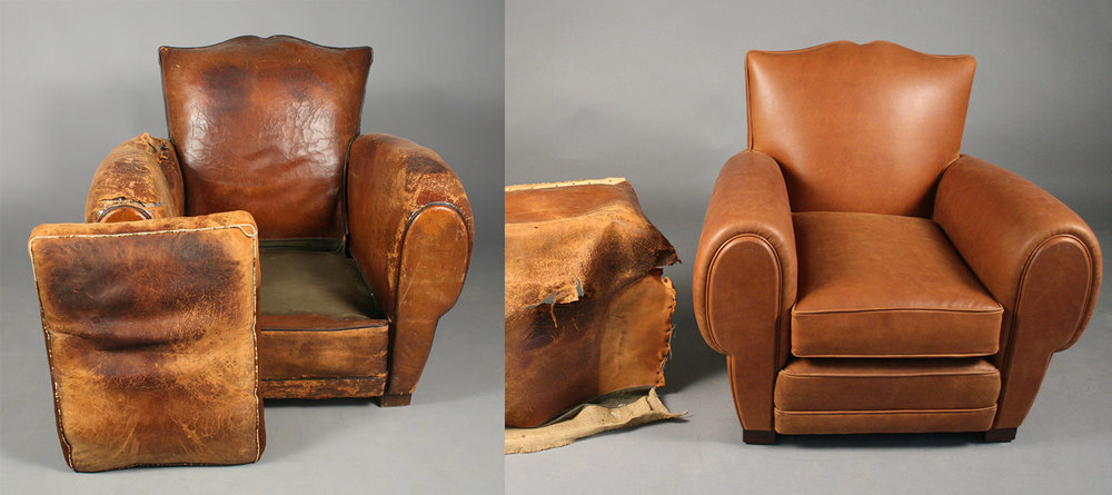 "As seen in the ""Before"" photo (left), this club chair's upholstery was beyond repair. The ""After"" photo (right) shows complete restoration, allowing it to remain functional for daily use."