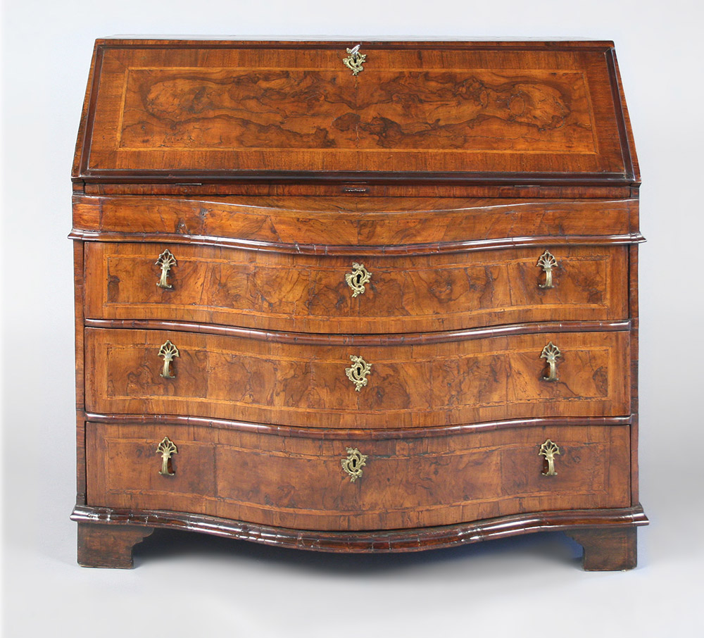 Secretary shown in its damaged state upon arrival, then after restoration by Bernacki & Associates