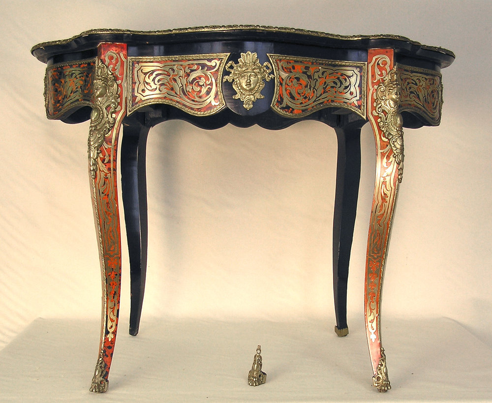 Boulle work table before restoration