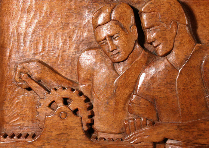 Wood relief panel after conservation