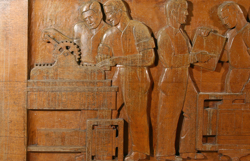 The Evolution of the Book,   Wood Sculptural Relief by Peterpaul Ott, detail before conservation