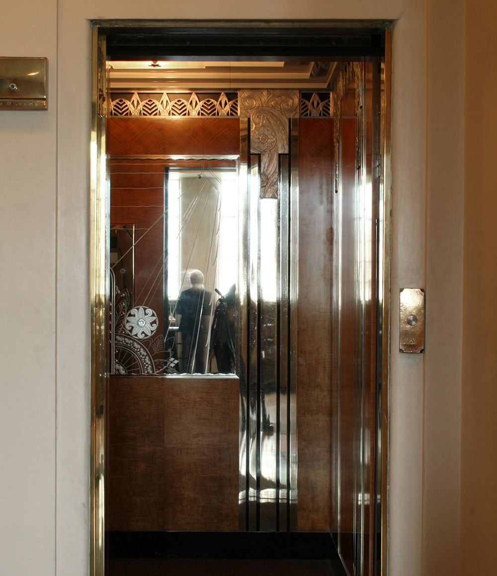 Art Deco elevator cab at Chicago's Powhatan Apartments building