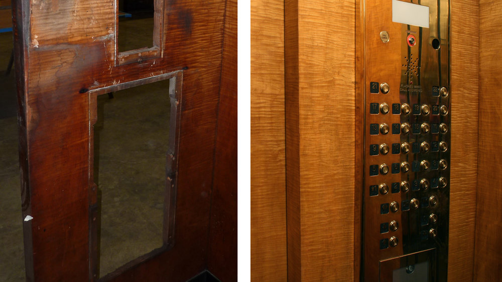 Detail before and after restoration
