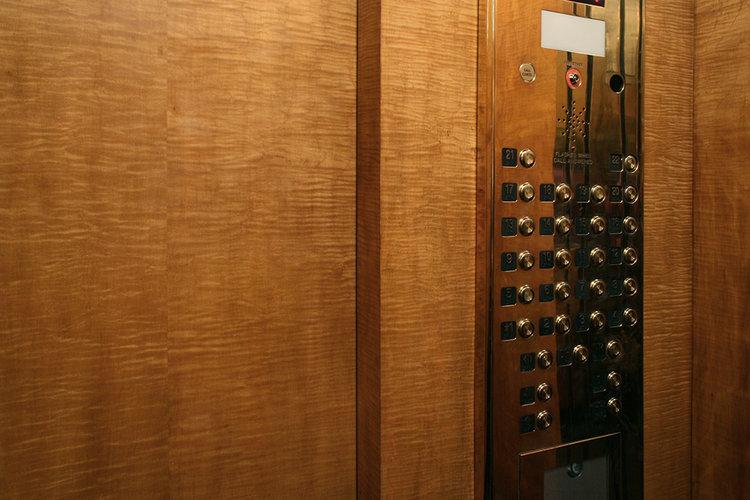 Art Deco elevator detail after restoration