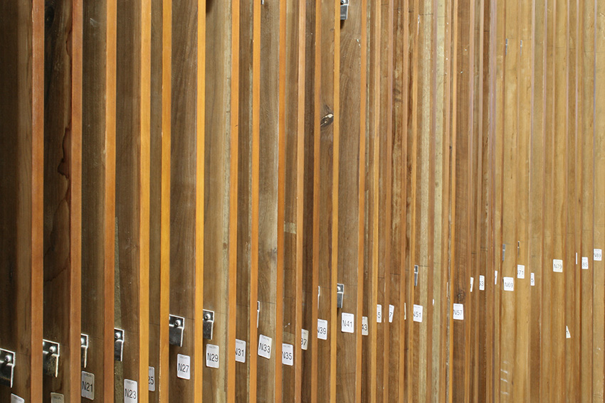 North phase panels stored at Bernacki & Associates studio during treatment and marked for precise identification