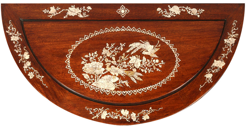 Mother-of-Pearl Inlay on Chinese Rosewood Console Table Top