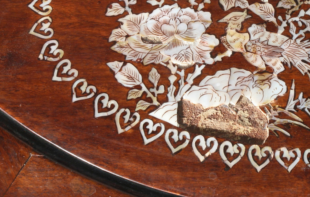 Detail of inlay before conservation