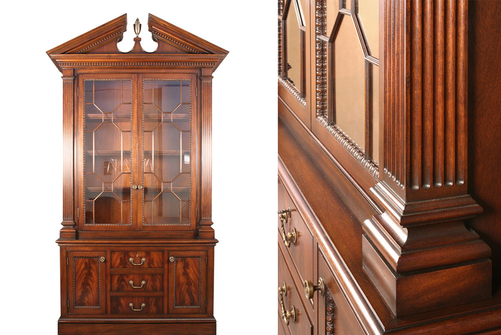 MAHOGANY BREAKFRONT CABINET - Fabrication by Bernacki & Associates, Inc.
