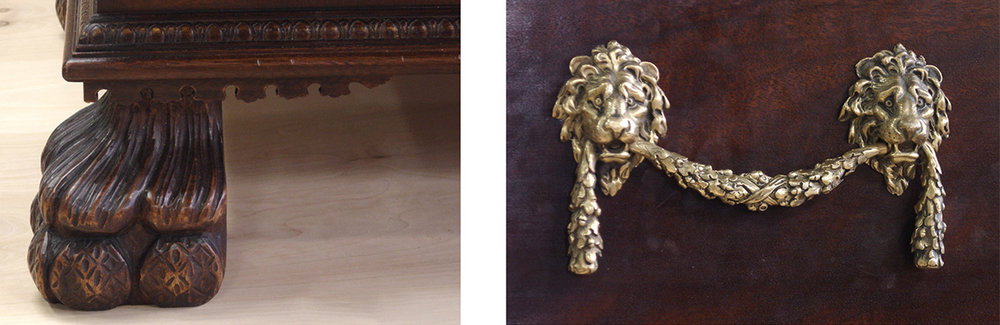 Hand carved detail and hardware close up