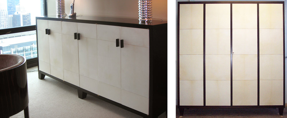 Sideboard and TV cabinet with vellum panels