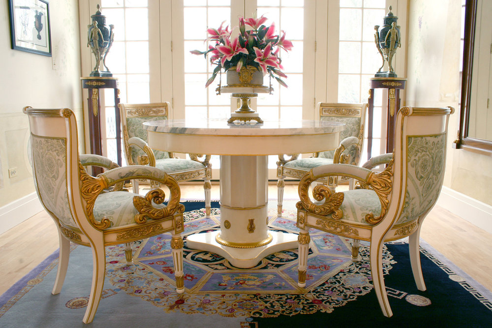MARBLE TOP CENTER TABLE WITH CUSTOM FINISH