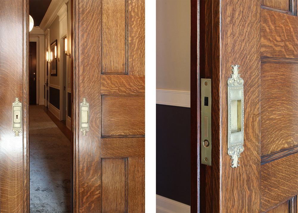 Historic residence pocked doors after restoration