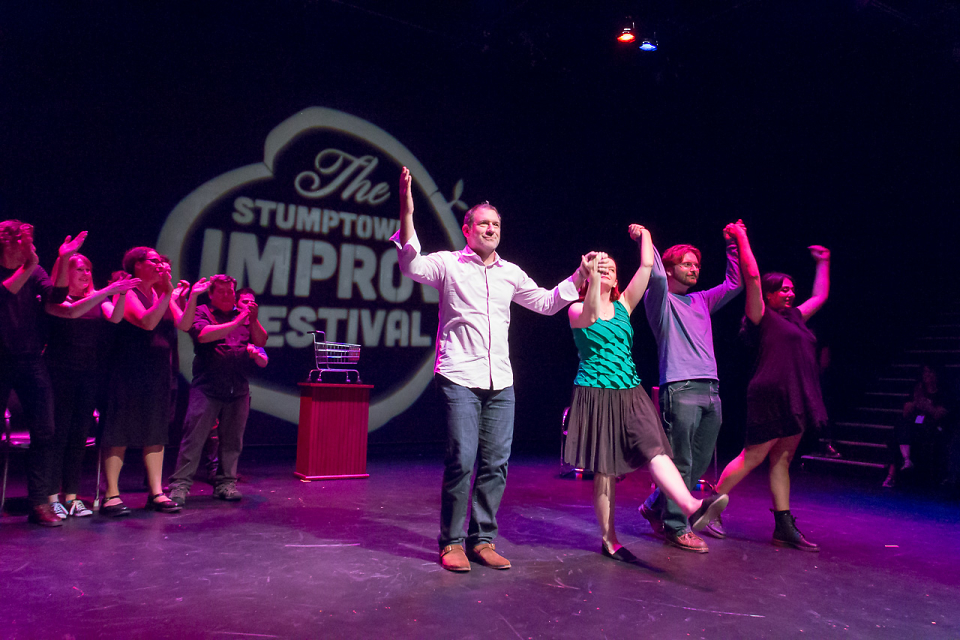 David (in front at left), taking a bow with other members of The Brody Theater during the 2016 Stumptown Improv Festival