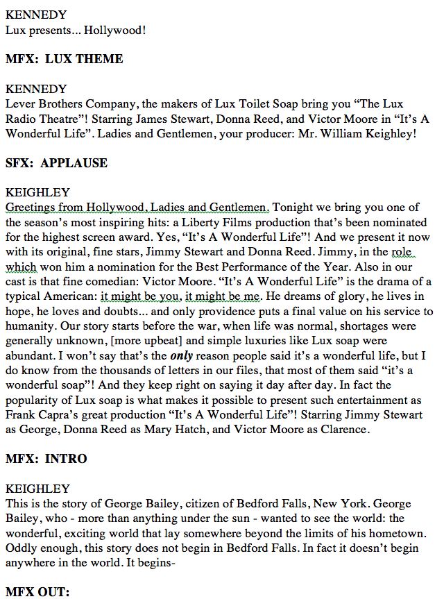 "Page 1 of the original Lux Radio Theater's 1947 transcript of ""It's a Wonderful Life"""