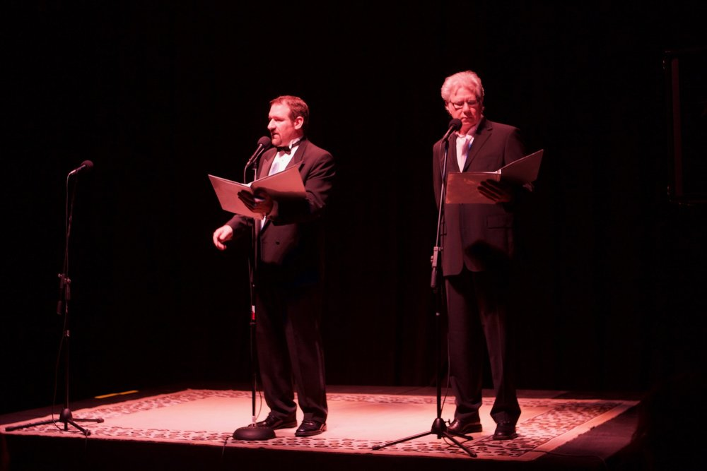 "David, on stage with 4-time Emmy winner, John Larroquette in ""The War of the Worlds"""
