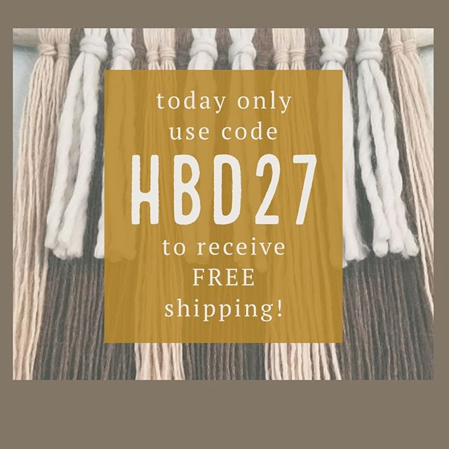 help me celebrate my birthday with a 🎉☕🎂❤🎉-- SALE --🎉❤🎂☕🎉 . now until midnight use code HBD27 for free shipping on ALL purchases! . to snag the piece you've been eyeing before it's gone, go click the link in my bio! 😘 . . . . . #birthday #sale #freebie #hbd #happybirthday #maker #makersmovement #ourmakerlife #smallbusiness #bohodecor #hyggehome #yarnwallhanging #cozyhome #bohome #minimalistdecor #linkinbio #neutraldecor #natural #naturalisbest #wool #alpaca #ecohome #sustainable #fibreartist #fiberart #hbd #creative #handmade #crochet #entrpreneur