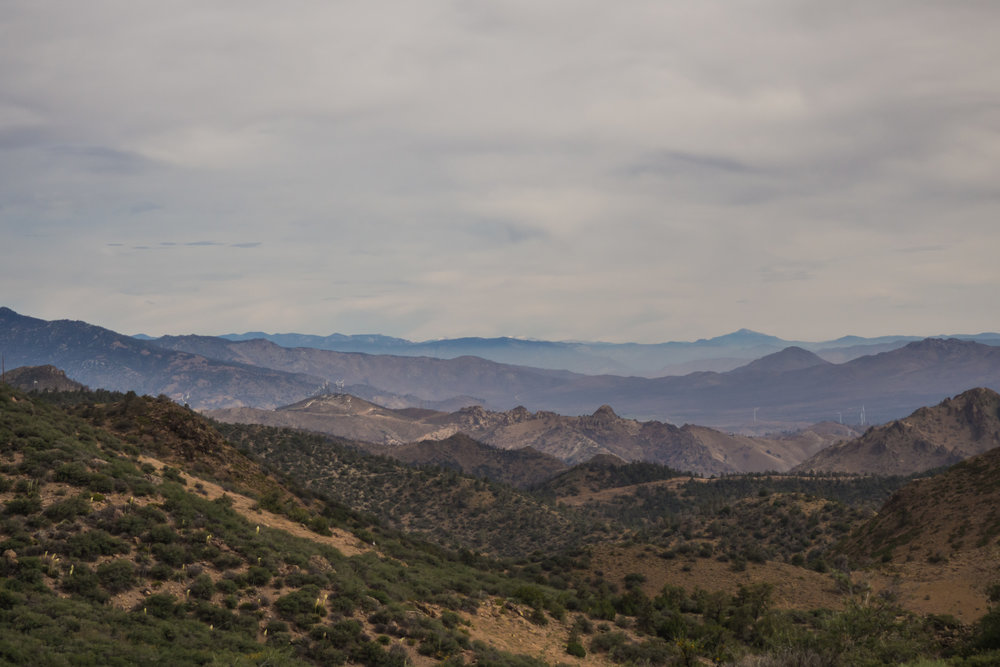 I will never forget this moment. I saw the snowy peaks of the Sierra Nevada for the first time. (Difficult to see in picture but they are there)