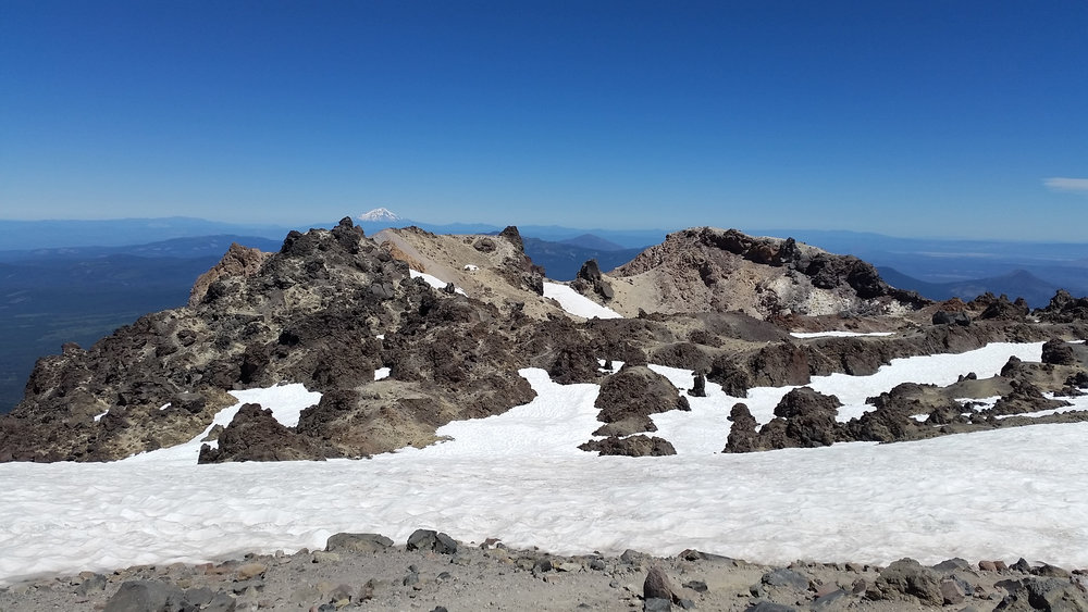 View from the summit of Lassen Peak. Mt. Shasta in the distance