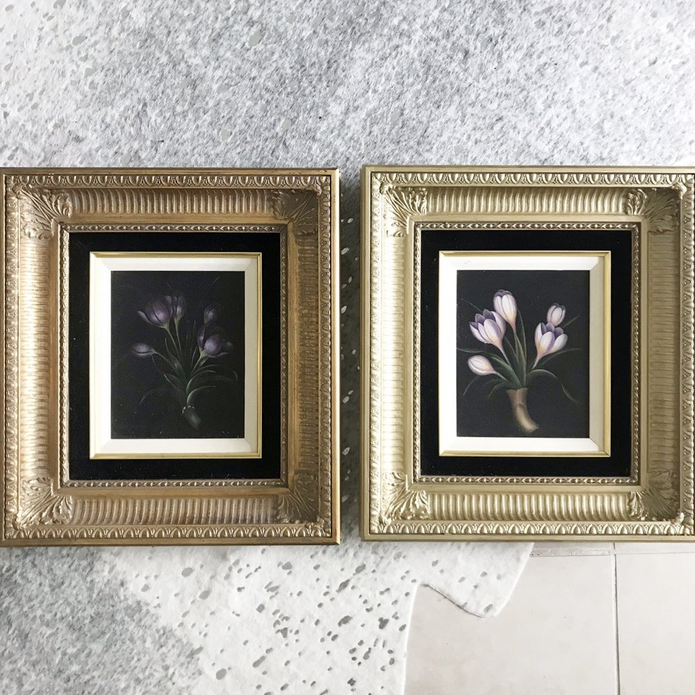 LEFT: the original gold of the frame. Right: matching frame painted with  Rub 'n Buff  metallic gold.